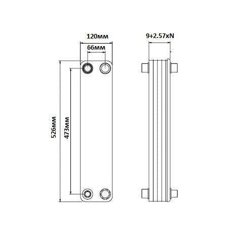 Пластинчастий теплообміник Thermokey TP09H-34